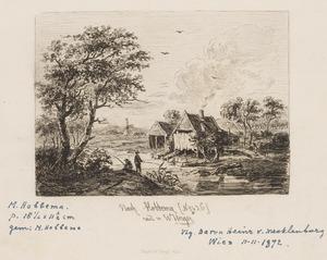 Rivierlandschap met twee vissers en een huis