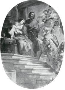 Sint-Willibrordus in verering voor de Heilige Familie
