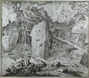 Rotslandschap met twee figuren zittend bij een waterval