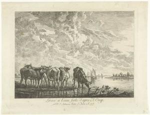 Landschap met vijf koeien bij een rivier
