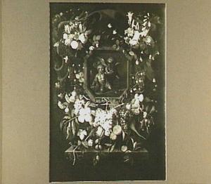 Bloemenkrans rond cartouche met daarin een voorstelling van Tobias en de engel