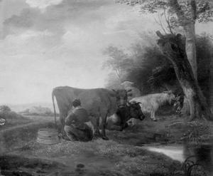 Landschap met grazend en rustend vee met een koeienmelkster