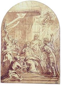 De apotheose van keizer Augustus verkondigd aan zijn vrouw Livia en zoon Tiberius