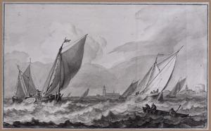 Vissersboten bij een kust