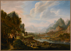 Berglandschap met druk bevolkte aanlegplaats aan een rivier