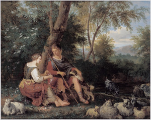 Herder en herderin zittend onder een boom