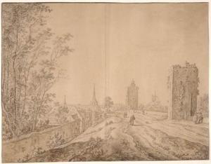 De westelijke stadswal van Utrecht met de waltoren ter hoogte van de Zilverstraat, de Smeetoren en de Geertekerk