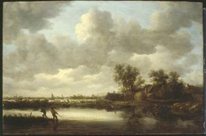 Rivierlandschap met hun net binnenhalende vissers