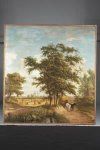 Landschap met hooiende boeren