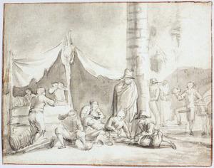 Drinkende en spelletje spelende figuren voor een tent