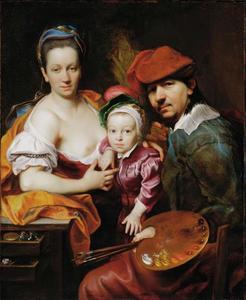 Zelfportret van Johann Kupezky met vrouw en zoontje