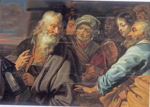 Diogenes zoekt midden op de dag met een lantaarn een eerlijk mens op de markt