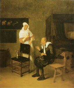 Oude man en jonge vrouw met een roemer in een interieur