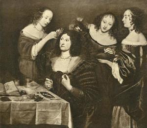 Een oudere vrouw (of man) wordt voor de toiletspiegel door drie hofdames opgemaakt