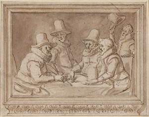 Vier regenten en een functionaris van het Rasphuis van Amsterdam, in een getekende omlijsting