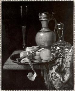 Stilleven zuidvruchten, brood en drinkgerei