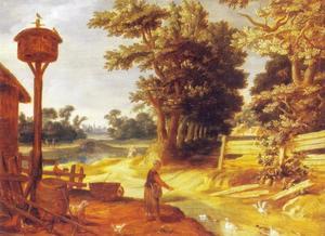 Bebost landschap met boerin die eenden voert