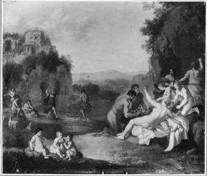 Arcadisch landschap met dansende en feestende nimfen en saters
