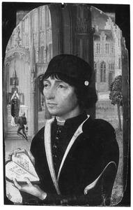 Portret van een jonge man met een hartvormig gebedenboek