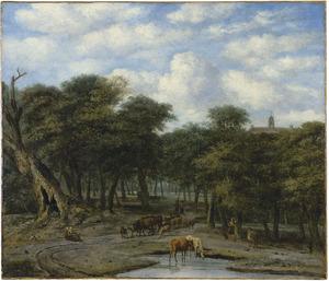 Een open plek in het bos met drinkend vee