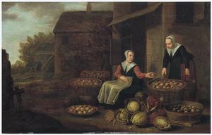 Een groenten- en fruitkoopvrouw met een klant