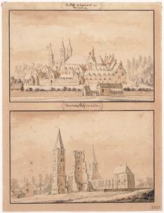Ruïne van de abdij van Egmond, gezien vanuit het zuid-zuidoosten (boven); Ruïne van de abdij van Egmond vanuit het zuid-zuidwesten (onder)