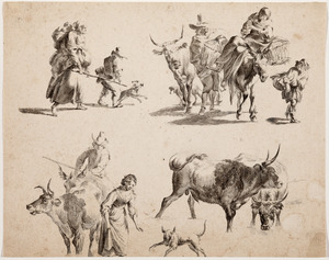 Schetsen van pastorale scènes