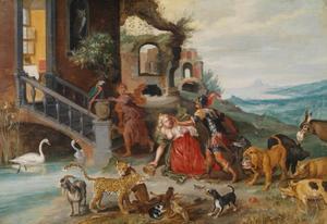 Circe bidt Odysseus om genade, nadat hij haar toverdrank heeft weerstaan (Homerus, Odysse, 10:320-345)