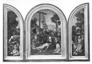 De H. Anna-te-Drieën (links), de bewening (midden), de H. Franciscus ontvangt de stigmata (rechts)