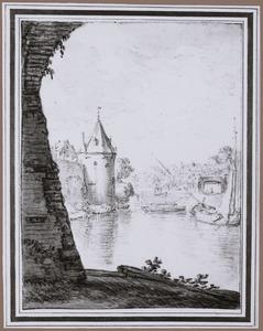 Waltoren De Bok gezien vanaf het Begijnebolwerk te Utrecht