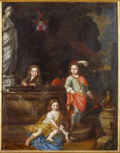 Portret van de kinderen van Johann Christian von Kretschmar und Flamischdorf (1650-1693) en Susanna Vernatti (1659-1708), met een bediende