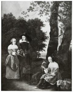 Portret van twee jonge vrouwen en een jongeman in een landschap