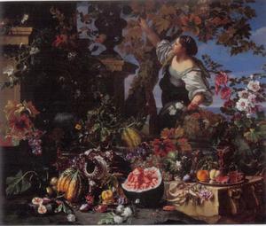 Stilleven van fruit en bloemen en een vrouw die druiven plukt