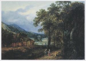 Landschap met enkele huizen bij een bosrand