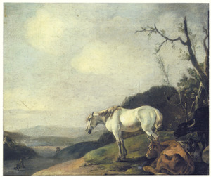 Heuvellandschap met wit paard en twee koeien