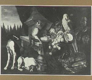 Stilleven van vruchten, papagaai, aap en twee honden