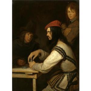 Drie mannen in herberg, een met snuiftabak
