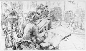 Kunstenaars aan het tekenen in een interieur