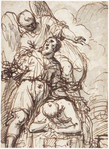 Een engel weerhoudt Abraham om  Isaak te slachten met zijn zwaard (Genesis 22:10)
