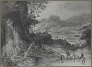 Berglandschap met reizigers en een kudde schapen