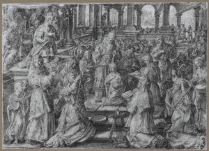 Joas door hogepriester Jojada gezalfd en gekroond (2 Koningen 11:12; 2 Kronieken 23:11-12)