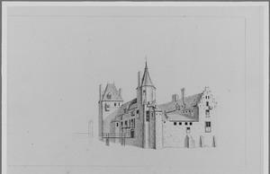 Voor- en rechterzijde van de ridderhofstad Ter Meer (ook wel Zuylenburg of het slot te Maarssen)