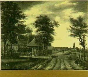 Landweg bij een boerderij (in de verte Amersfoort?)