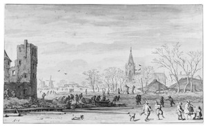 Winterlandschap met schaatsers bij de ruïne van het kasteel Abcoude