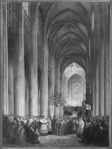 Aartsbisschop Zwijsen zegent in de Sint-Janskerk te 's-Hertogenbosch de aanwezigen aan het begin van het Provinciaal Concilie in 1865