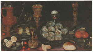 Stilleven van oesters, artisjok, drinkgerei en vaatwerk