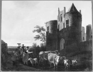 Landschap met herders en vee bij de voorpoort van kasteel Egmond