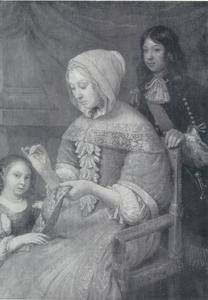 Naaiende dame met kinderen
