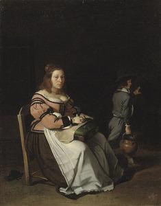 Interieur met bordurende vrouw