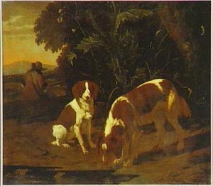 Twee honden voor een distelstruik, daarachter een zittende jager met een geweer
